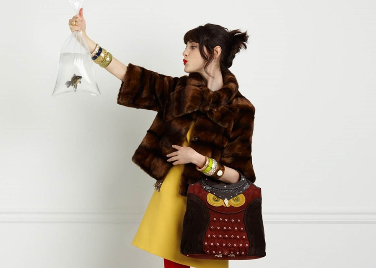 Kate Spade Fur Jacket & Owl Purse