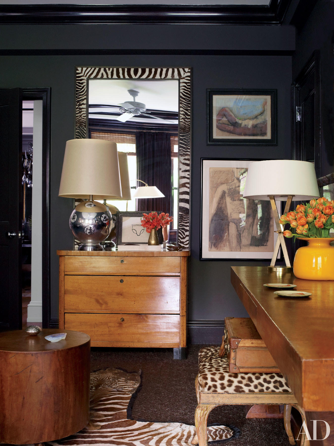 """Black Walls"" Photo Courtesy of Architectural Digest Magazine"